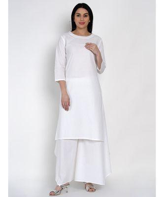 women basic essential cotton white kurta with white assymetrical pant
