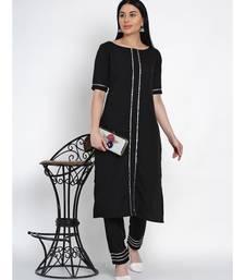 women black crepe straight kurta and pant set with gota inserts