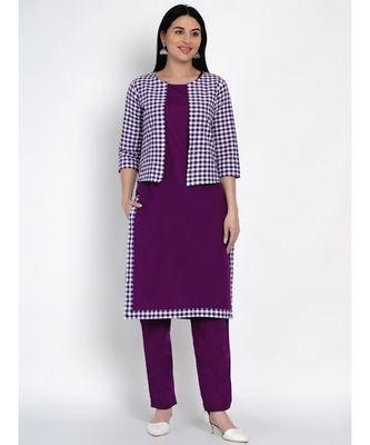 women purple cotton straight kurta and pant set with purple and white jacket