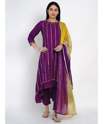 women purple cotton assymetrical kurta and petal pant set along tie and dye dupatta embellished with gota