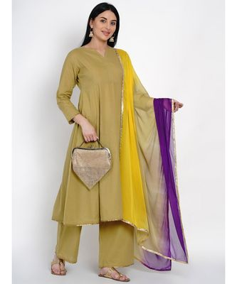 women cotton olive flared kurta and pant set with gota edging and tie and dye dupatta with gota