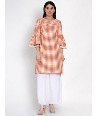 women cotton orange and white check kurta with flounce sleeve and tassles