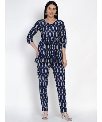 women cotton navy ikkat print cotton set of peplum top and straight pants