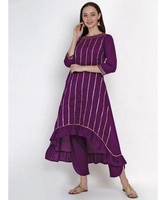 women purple cotton assymetrical kurta and petal pant set embellished with gota