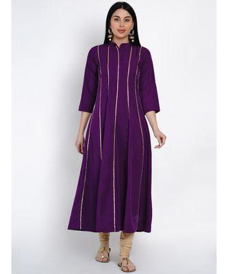 women purple crepe anarkali kurta with gota inserts