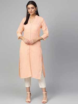 Peach Colored Chikankari Embroidered Straight Kurta