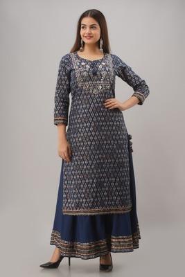 Blue Colored Sharara Set With Kurti Pattern Dress