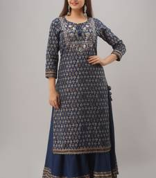 Blue Colored Sharara Set With Kurti Pattern Dress