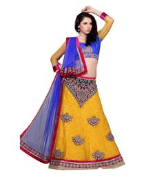 Buy Yellow net embroidered unstitched lehenga lehenga-choli online