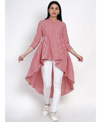 womens handloom cotton red and white check assymterical hem long tunic