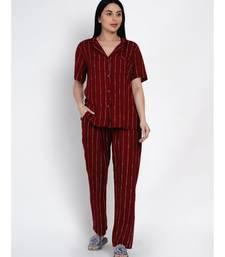 womens rayon maroon stripe lounge wear night suit