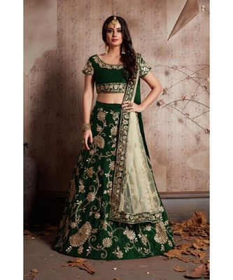 Green Zari And Sequins Embroidered Velvet Semi Stitched Lehenga Choli With Dupatta
