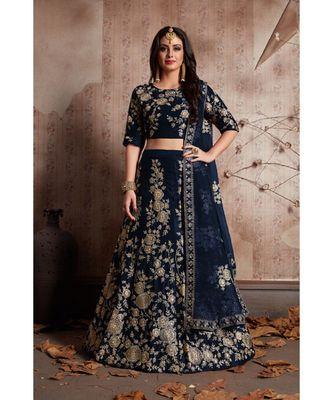 BLUE Zari And Sequins Embroidered Velvet Semi Stitched Lehenga Choli With Dupatta