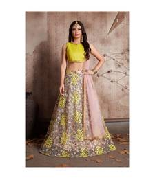 Yellow Soft Net Embroidered Semi Stitched Lehenga With Unstitched Blouse & Dupatta