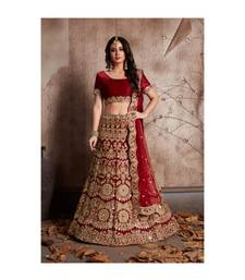 MAROON EMBROIDERED VELVET UNSTITCHED LEHENGA WITH BLOUSE