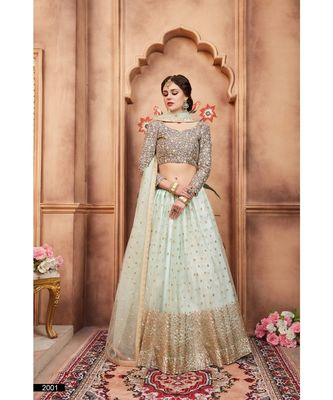 Sky Blue Embroidered Net Unstitched Lehenga