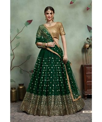 GREEN Sequins Embroidered Net Unstitched Lehenga Choli With Dupatta