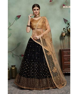 BLACK Sequins Embroidered Net Unstitched Lehenga Choli With Dupatta