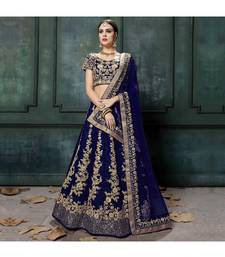 Blue Embroidered Silk Unstitched Lehenga