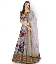 grey Embroidered Silk Semi Stitched Lehenga