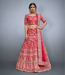 Pink Embroidered Art Silk Semi Stitched Lehenga With Dupatta