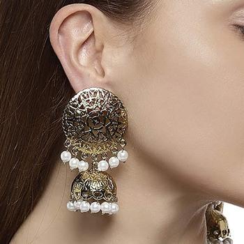 White pearl jhumkas