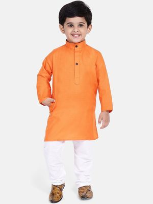 Boys Stand Collar Cotton Kurta pajama-Set- Orange
