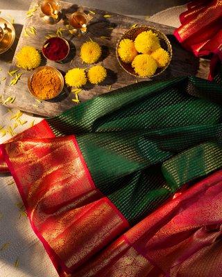 Green woven kanchipuram silk saree with blouse