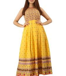 Yellow printed cotton maxi-dresses