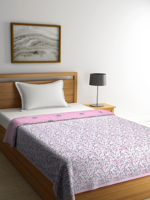 NEUDIS By Dhrohar Soft Single Bed Reversible Microfibre Printed Comforter for AC Room -  250 GSM - Pink