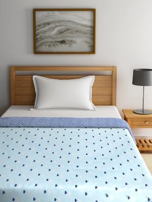 NEUDIS By Dhrohar Soft Single Bed Reversible Microfibre Printed Dohar / Comforter for AC Room -  250 GSM - Blue