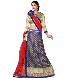 Gray net embroidered unstitched lehenga