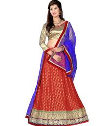 Red net embroidered unstitched lehenga