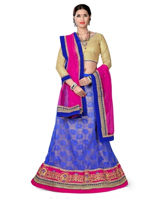 Blue net embroidered unstitched lehenga