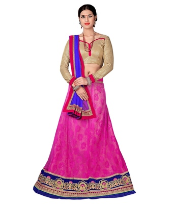 Pink net embroidered unstitched lehenga