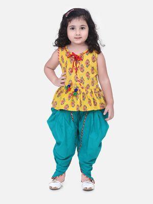 Jaipuri Print Pure Cotton Dhoti Top For Baby Girls- Yellow
