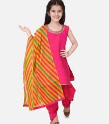 Silk Kurti Dhoti With Leheriya Dupatta For Girls-Pink