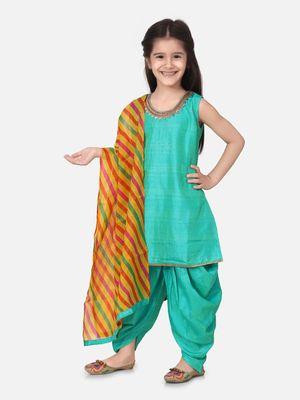 Silk Kurti Dhoti With Leheriya Dupatta For Girls-Green
