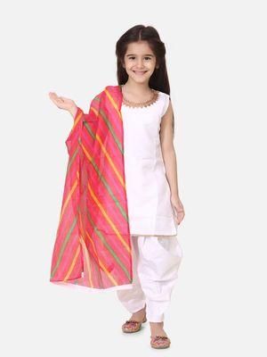 Silk Kurti Dhoti With Leheriya Dupatta For Girls-White
