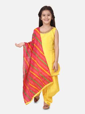Silk Kurti Dhoti With Leheriya Dupatta For Girls-Yellow