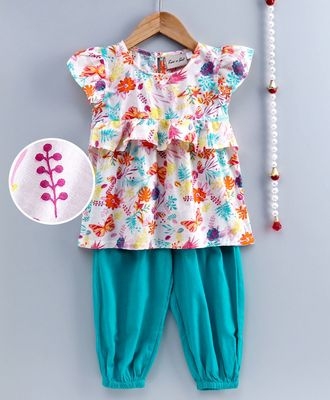 Girls Ruffle Cotton Top With Harem Pant-Blue