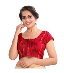 Red BROCADE Padded Round Neck Blouse