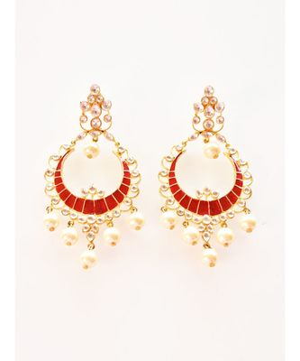 Elegant Red Chandbali with Kundan and Pearls