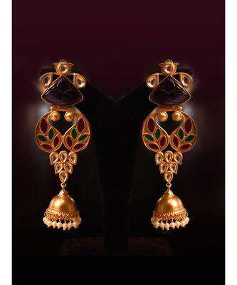 Statement Golden Earring in beautiful Meenakari Work