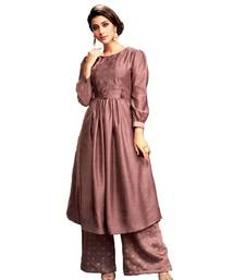 purple jute silk kurta-sets