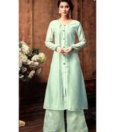 blue jute silk kurta-sets
