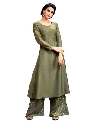 green jute silk kurta-sets
