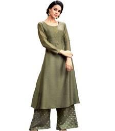 green jute silk kurta-sets