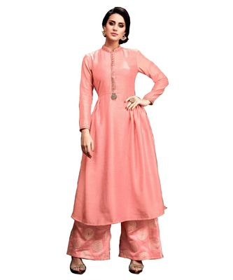 peach jute silk kurta-sets