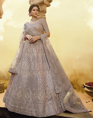 Onion-pink thread, sequins, zarkan embroidered crepe Semi Stitched bridal lehenga